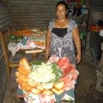 Gloria of El Salvador received $525.00 to purchase fresh fruit for her store.