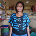 Esther of Kenya received $250 to to purchase more plastic wares to sell.
