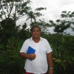 Lopepe from Samoa received $225 to buy a backpack sprayer, wheelbarrow, seeds, and other supplies for her business selling taro and banana.