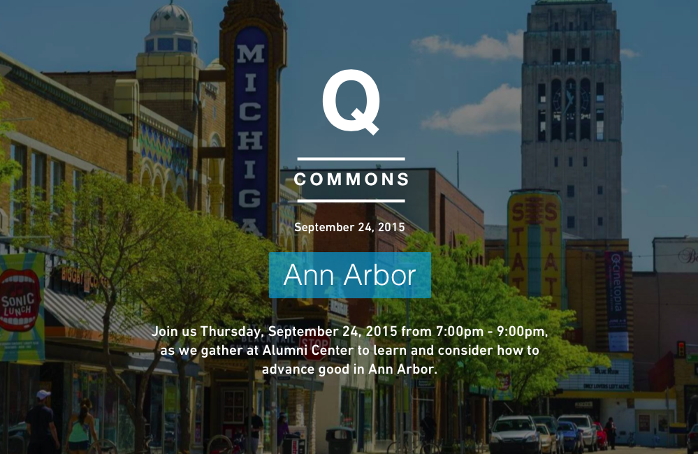 """The Q Commons mission is simply to """"advance good"""" in local communities. iZosh chair Robin Phillips will be one of a group of local speakers and panelists discussing how to advance good in Ann Arbor."""
